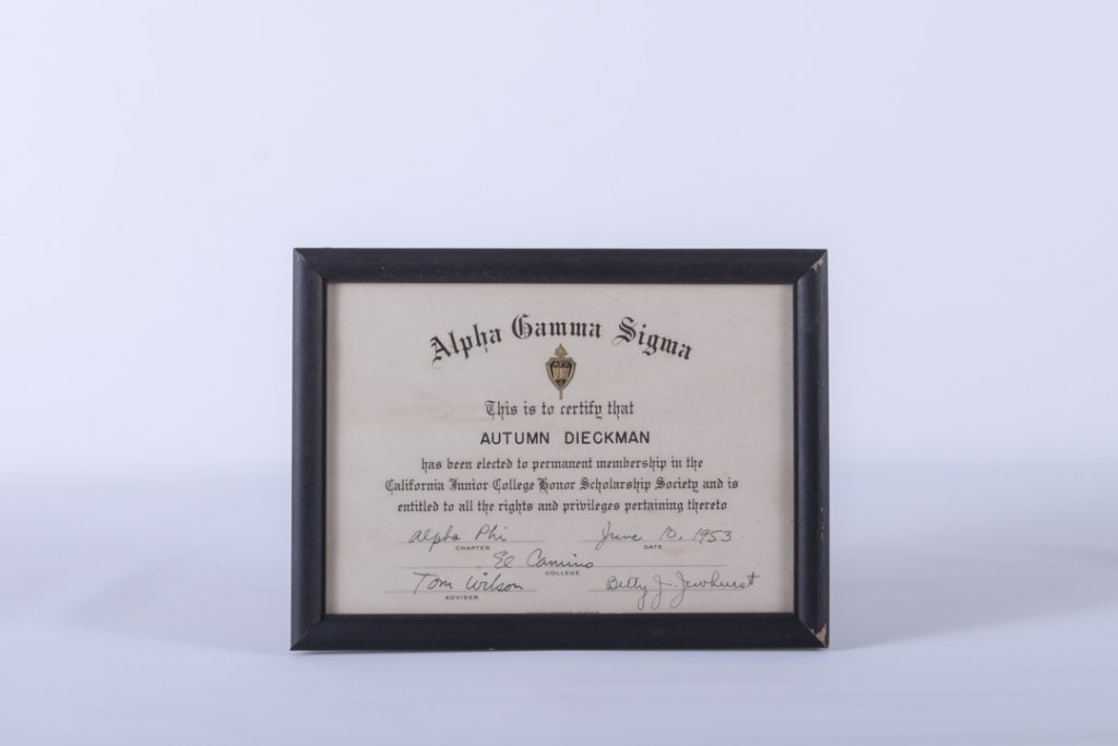 1953 Alpha Gamma Sigma Honor Scholarship Society Certificate, chapter Alpha Phi from El Camino College Torrance California