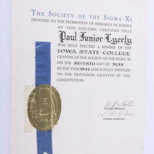 Vintage Original 1942 Society of Sigma Xi Iowa State College Paul Lyerly Diploma