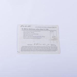 1838 Receipt for Harvard College