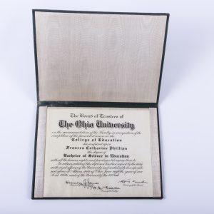 1936 Ohio University Diploma