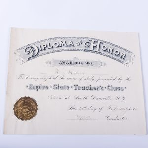 ANTIQUE 1891 EMPIRE STATE TEACHER'S CLASS DIPLOMA SOUTH DANSVILLE, N.Y.