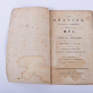 An Oration at Cambridge Phi Beta Kappa Timothy Bigelow 1797 Boston Law 2