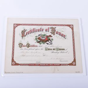 Antique 1885 Certificate of Honor School Rewards Manayunk Philadelphia
