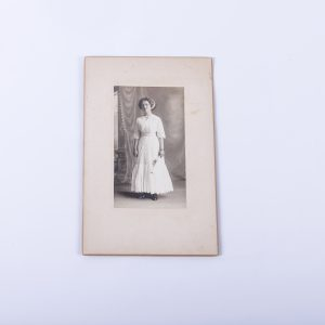 Antique Cabinet Card Photo of Young Woman with Diploma Signed on Back