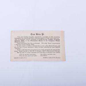 Chicago Tau Beta Pi Fraternity Dance Invitation Postcard 1912