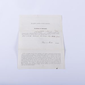 HARVARD COLLEGE 1863 ORIGINAL CERTIFICATE OF ADMISSION FOR J.W. REED