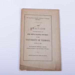 Oration Phi Beta Kappa Society University of Vermont 1876 Charles Kendall Adams