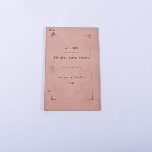 Poetry Poem Phi Beta Kappa Society Yale College Champion Bissell New Haven 1861