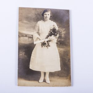 RPPC Graduation Day Girl White Dress Diploma Rose Bouquet Real Photo Postcard Antique Vintage Black White Photo Photograph